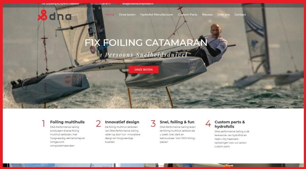 Nieuwe-NL-website-DNA-Performance-Sailing-homepage-nieuwe-site-foiling-boten-catamaran-trimaran-custom-carbon-parts-hydrofoils-hydrofoil-producent